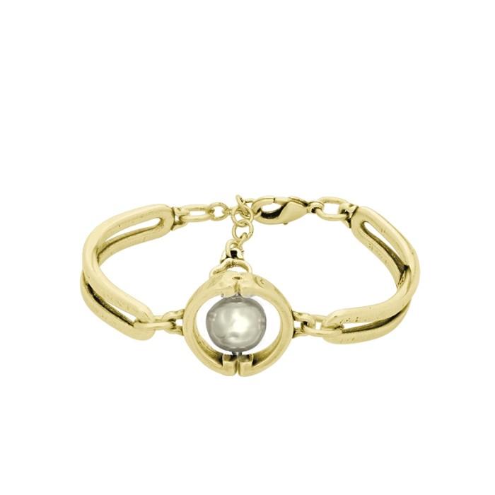 Pulsera Auténtica con perla oro