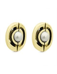 Pendientes Style oro cierre omega y perla