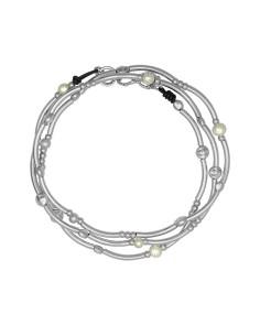 Collar ESENCIA enrollable con cuero y perla